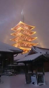 雪が積もった浅草寺五重の塔