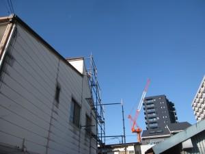 建物施工中 屋根足場