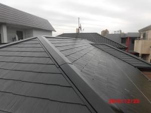 スレート屋根下塗り後