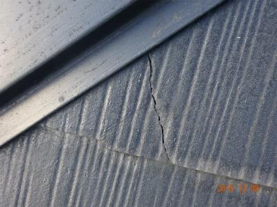 スレート屋根材の劣化による割れ