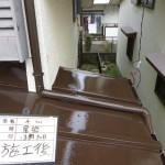 【地震保険適用】トタン屋根・ベランダ鉄部塗装と雨樋交換工事‐小平市